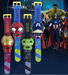 New iroN maN watch online shopping - Kids Avengers deformation watches New Children Superhero cartoon movie Captain America Iron Man Spiderman Hulk Watch toys