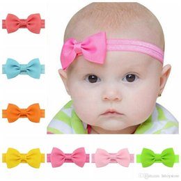 Discount diy baby elastic headbands bows - Wholesale- 20pcs lot Baby Girl Small Bow Tie Headband DIY Grosgrain Ribbon Bow Elastic Hair Bands For Infant Toddler Hai