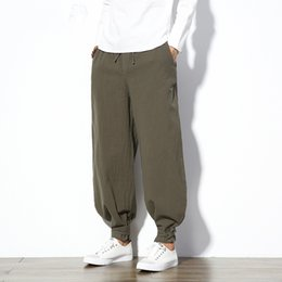 male full belt Australia - Cotton Linen Harem Pants Men Jogger Pants Male Trousers Chinese Traditional Cloths Belts