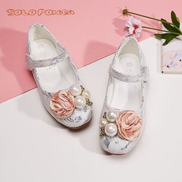 princess dress for kids dance Australia - White Pink Kids Toddler Flower Children Girls Wedding Party Dress Princess Leather Shoes For Teens Girls Dance Shoes New 8889-48