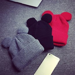 $enCountryForm.capitalKeyWord NZ - 1pcs Hat Female Winter Caps Hats For Women Devil Horns Ear Cute Crochet Braided Knit Beanies Hat Warm Cap Hat Bonnet Homme Gorro C18122501