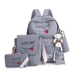 $enCountryForm.capitalKeyWord Australia - WENYUJH 5pcs set Women Backpack Canvas Printing Smile School Bags Teenage Girl Waterproof Nylon Laptop Pack Mochila Backpack