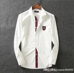 $enCountryForm.capitalKeyWord Australia - Pure cotton mercerized cotton lapel shirt men's long sleeve slim Korean fashion handsome men's shirt business casual