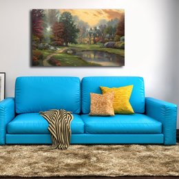 $enCountryForm.capitalKeyWord UK - Thomas Kinkade Lakeside Manor Painting Canvas Poster Prints Wall Art Painting Decorative Picture Modern Home Decoration Accessories Artwork