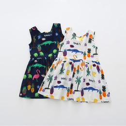 Cotton Cherry Australia - Summer Girl Dress Children Cotton Sleeveless Dresses Cherry Print Kids Dress for Girls Fashion Girls Clothing