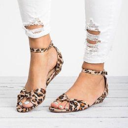 Summer Ladies Sandals Australia - Summer Sandals Women Shoes 2019 Woman Sandals Ankle Strap Flat Ladies Shoes Leopard Casual Beach Female Footwear