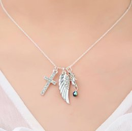 Necklaces Pendants Australia - Fashion Sweater Chain Silver Tone Supernatural Protection Necklace Angel Wing Mermaid With Cross Pendant Chain Necklace Hot Jewelry