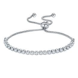 Fish Crystal Australia - Luxury 4mm Cubic Zirconia Tennis Bracelets Adjustable Silver Chain Crystal Bracelet Wedding Party Bracelet Women Jewelry