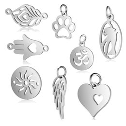 $enCountryForm.capitalKeyWord Australia - 5pcs lot 100% Stainless Steel Dog Angle Wing Charm Wholesale Dolphin Sun Connector Lotus Heart DIY Charms for Jewelry Making