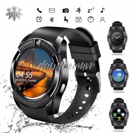 $enCountryForm.capitalKeyWord Australia - Cheapest 50pcs V8 Smart Watch Bluetooth Watches Android 0.3M Camera MTK6261D Smartwatch for android phone Micro Sim TF card with Retail box