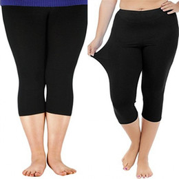 Knitted Black Leggings Australia - Plus Size Women Leggings For Big Women Pants Mid-Calf Solid Stretchy Knitted Bottoms Slim Leggings Mid Waist Candy Colors B93391
