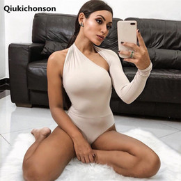 black one shoulder jumpsuits women Australia - One Shoulder Body Top Women One Piece Bodysuit Summer Halter Jumpsuits Ladies Sexy Fitness Bodycon Rompers Shorts Playsuits