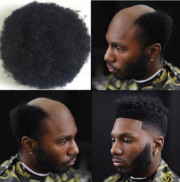 lace systems Canada - Men Hair System Wig Men Hairpieces Afro Curl Toupee Full Swiss Lace Toupee Jet Black Brazilian Virgin Human Hair Replacement for Black Men
