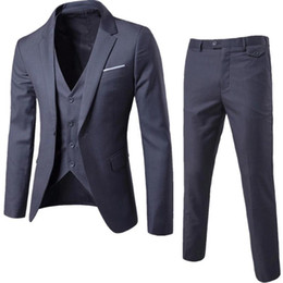 men wedding suit grey Australia - Costume Homme Grey Men Suits Men's Slim Fit Suits Business Men Wedding Tuxedo Blazer Masculino 3 Pieces Jacket Pant Vest