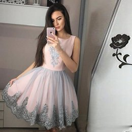 Discount grey lace knee length dress - Lovely Pink and Grey Mini Homecoming Dresses Square Neck Lace Appliques Above Knee Length Club Wear Cheap Girls Graduati