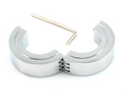$enCountryForm.capitalKeyWord Australia - Wholesale- stainless steel Scrotum ring metal Locking Hinged Cock Ring OR CBT Ball Stretchers Chrome Finish Scrotum Stretchers