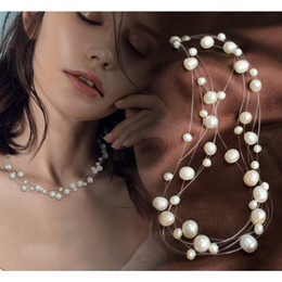 $enCountryForm.capitalKeyWord Australia - Multilayer White Natural Baroque Pearl Choker Necklace for Women Gypsophila Simple Style Handmade DIY Wedding Party Jewelry Gift