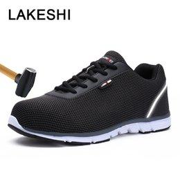 Мужская обувь Повседневная обувь Мужская мода кроссовки мужчины стали Toe работы Безопасности обувь легкий дышащий скольжения на случайные мужчины кроссовки на Распродаже