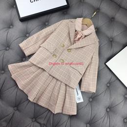 $enCountryForm.capitalKeyWord Australia - Girls suits sets kids designer clothing blazer + pearl shirt + skirt 3pcs autumn new suit sets college wind big lapel design