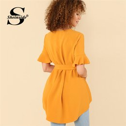 $enCountryForm.capitalKeyWord NZ - Sheinside Yellow Ruffle Sleeve High Low Tee Office Ladies Workwear Belt Elegant Top Summer Women Asymmetrical Casual T-shirt Y18122401