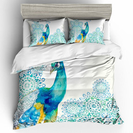 peacock duvet cover NZ - Peacock Watercolor Bedding Set King Size 3D Duvet Cover Queen Artistic Beautiful Home Dec Double Single Bed Set With Pillowcase 3pcs