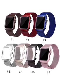 Silver Black Red Australia - Full Coverage Watch Case with Magnetic Metal Band Black Silver Red Pink with Opp Bag For Apple Watch 38mm 40mm 42mm 44mm 20pcs