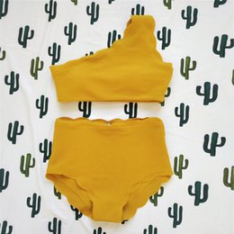 Wholesale two high waisted swimwear for sale – plus size Lady Vintage High Waisted Solid Color Swimwear Two Pieces Scalloped Trim One Shoulder Swimwear Dropshipping M