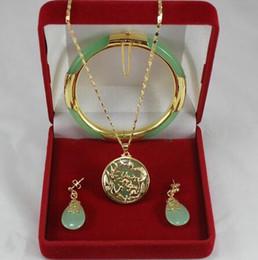 $enCountryForm.capitalKeyWord Australia - Women's Wedding noble 7.5' light green gem bracelet, earings, and dragon inlay jewelry sets for part silver mujer moda
