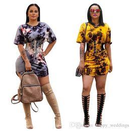$enCountryForm.capitalKeyWord Australia - Women O Neck Short Sleeve Summer Print Dress Lace Up Bandage Bodycon Dress Party Wear