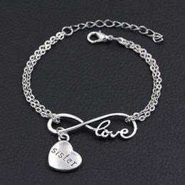 $enCountryForm.capitalKeyWord Australia - Bohemian Fashion Minimalist Silver Color Double Infinity Love Sister Pendant Bracelets Bangles For Women Men Silver Alloy Chain Jewelry Gift
