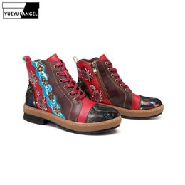 $enCountryForm.capitalKeyWord UK - Boho Handmade Women Cow Real Leather Ankle Boots Casual Lace Up Comfortable Streetwear Shoes Folk Floral Printed Boots Footwear