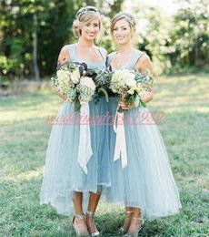 HigH low convertible dress online shopping - Beautiful High Low Tulle Bridesmaid Dresses A Line Short Juniors Party Gowns Prom Evening Formal Maid Of Honor Dress Wedding Guest Wear