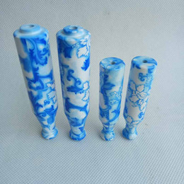 white ceramic pipe UK - china blue and white Tobacco porcelain Ceramic Metal Pipe filter smoking tobacco pipes cigarette holder Mini Snuff 78mm