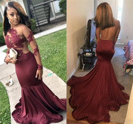 beaded bodice prom dresses Australia - 2019 Burgundy Mermaid Black Girl Prom Dresses Long Sleeves Open Back Illusion Bodice Long Sexy Arabic Evening Party Special Occasion Gowns