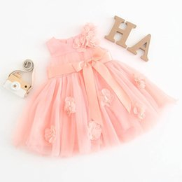 Cotton Floral Gowns Australia - Newborn baby girl clothes floral girls dress cute bowknot Baby Dress birthday Party Dresses Princess Dresses Ball Gown girls dresses A3802