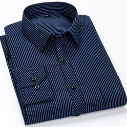 Striped Slim korean dreSS online shopping - Brand New Designer Shirts Blue Strip Camisa Social White Navy Classic Slim Fit Dress Foraml Man Shirt Korean Clothes Men XL XL