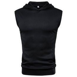 Wholesale Men s Sleeveless Hoodie Summer Bodybuilding Vests Sportswear Workout Solid Soft Casual Hooded Tees Male Clothes Fitness Tops