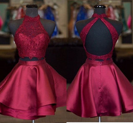 prom dresses for petite short girls Australia - 2 Piece Burgundy Short Prom Dresses 2019 Layers Skirt Lace High Neck Cheap Homecoming Dress New Graduation Dress For Girls Party Gowns