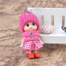 $enCountryForm.capitalKeyWord Australia - Must-have 8cm INS Cute Kids Toys Soft Interactive Baby Dolls Dress Toy Key Chain Mini Doll Keychain For Girls Key Ring Key Holder
