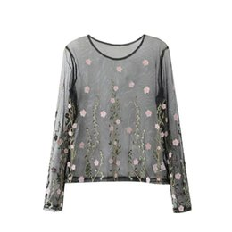 Black See Through Tee UK - Mesh elegant see-through floral embroidery long sleeve women tops t shirt fashion transparent sexy O-neck shirts lady Tees shirt