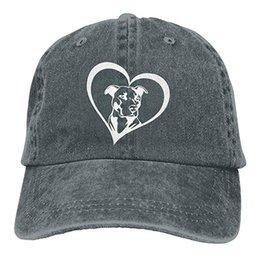 Hat Bulls Canada - 2019 New Wholesale Baseball Caps Print Hat Pit Bull Heart Mens Cotton Adjustable Washed Twill Baseball Cap Hat