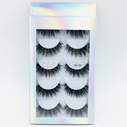 dense eyelashes UK - 5 pairs 5D mink natural dense false eyelashes with high-grade 3D mink hair with paper box free shipping