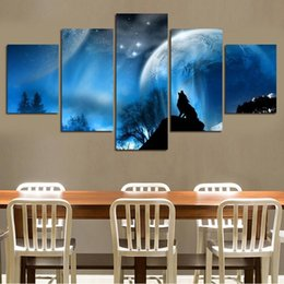 $enCountryForm.capitalKeyWord Australia - 5pcs set Unframed Wolf Shadow and Moon HD Print On Canvas Wall Art Picture For Home and Living Room Decor