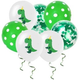 balloon dinosaurs NZ - 15pcs set Dinosaur Round Balloons Confetti Latex Balloons Boy Girl Baby Shower Birthday Party Decoration WB1851