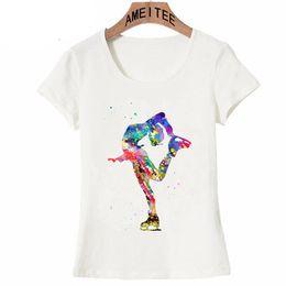 Discount female figure art - Harajuku Figure Skating Girl Watercolor Art T-shirt Summer Women T-shirt Maiden Cute Casual Tees Colorful Dancer Female