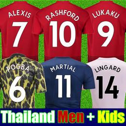 Kids jerseys xl online shopping - Thailand POGBA soccer jersey LINGARD LUKAKU RASHFORD MARTIAL football kit jersey ADULT shirt KID SETs