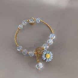 Discount korean charm bracelets 2020 Summer Daisy Bracelets For Women Girls Crystal Beads Bracelets Fashion Jewelry Korean Small Fresh Accessories