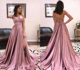 holiday evening gowns floor length Australia - Sexy Backless Prom Dresses 2019 A Line Satin Floor Length Pageant Holidays Graduation Wear Formal Evening Party Gowns Plus Size
