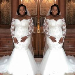 white lace caftan 2019 - Plus Size Dubai Mermaid Wedding Dresses Off Shoulder Lace Long Sleeve Saudi Arabia Caftan Bridal Gowns South African Wed