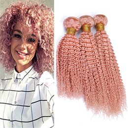$enCountryForm.capitalKeyWord NZ - Colored Pink Curly Human Hair Bundles Extensions Kinkys Curly Light Pink Virgin Malaysian Hair Weave Double Weft 300g Mixed Length